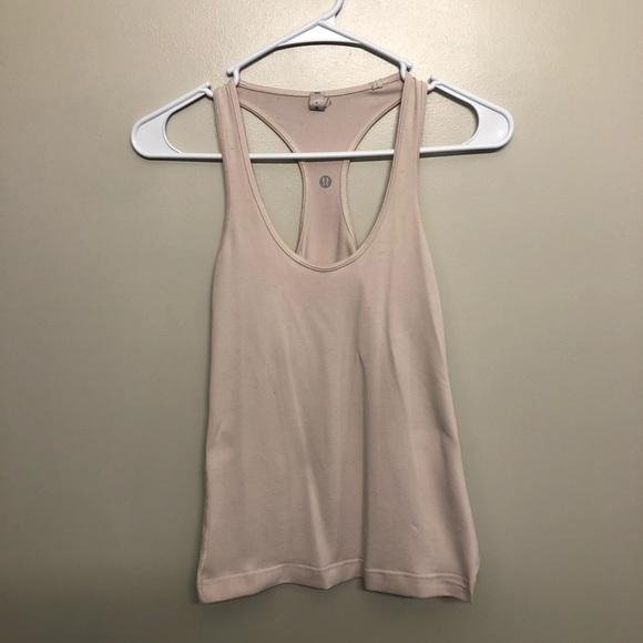 Lululemon athletic tank top pink tan size 4